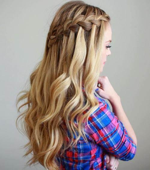 Şelale örgülü saç modeli