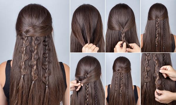 kolay örgü saç modeli