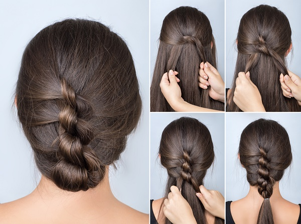 kolay ve şık topuz saç modeli