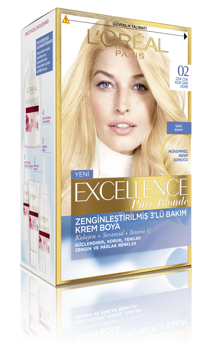 Excellence Creme Saç Boyası  02 Çok Çok Açık Sarı Dore